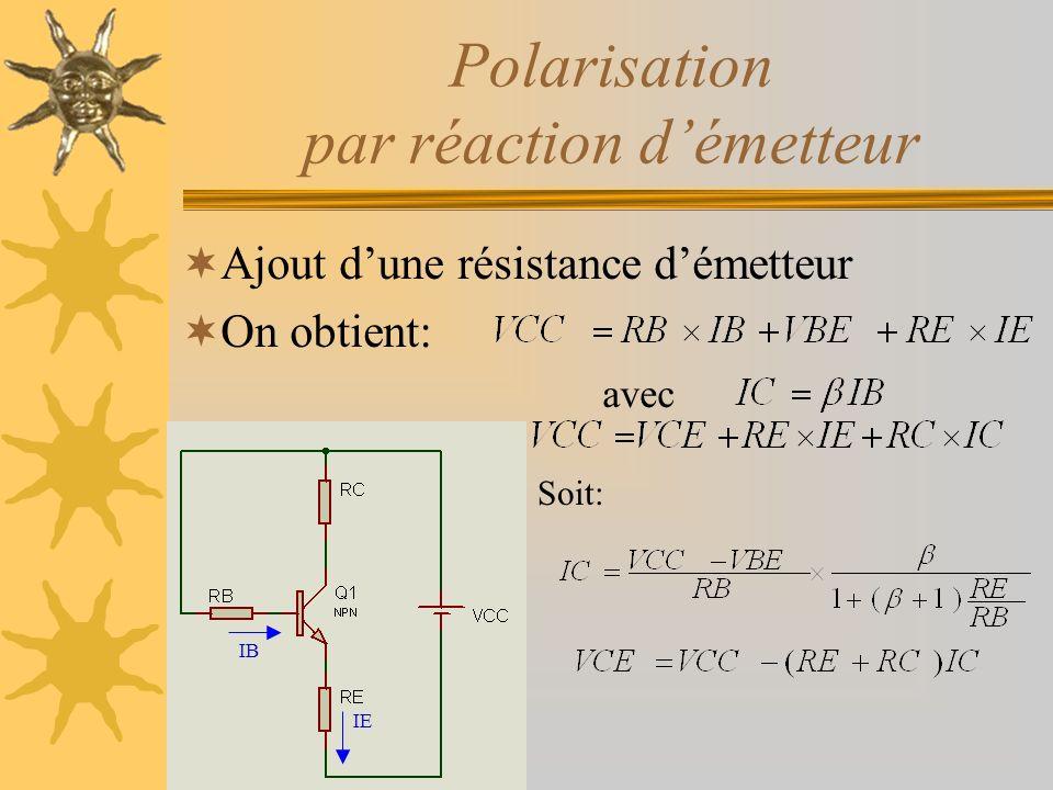 Polarisation par réaction démetteur Ajout dune résistance démetteur On obtient: avec IB IE Soit:
