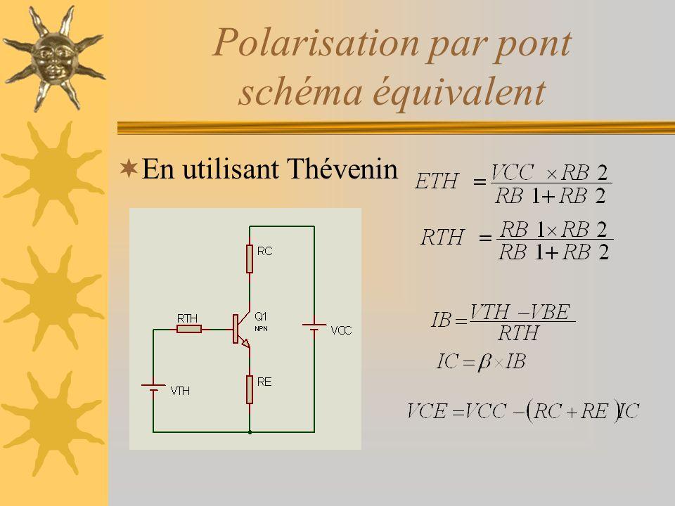 Polarisation par pont schéma équivalent En utilisant Thévenin
