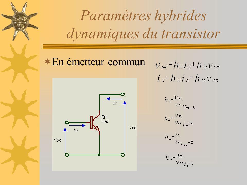 Paramètres hybrides dynamiques du transistor En émetteur commun ib vbe ic vce