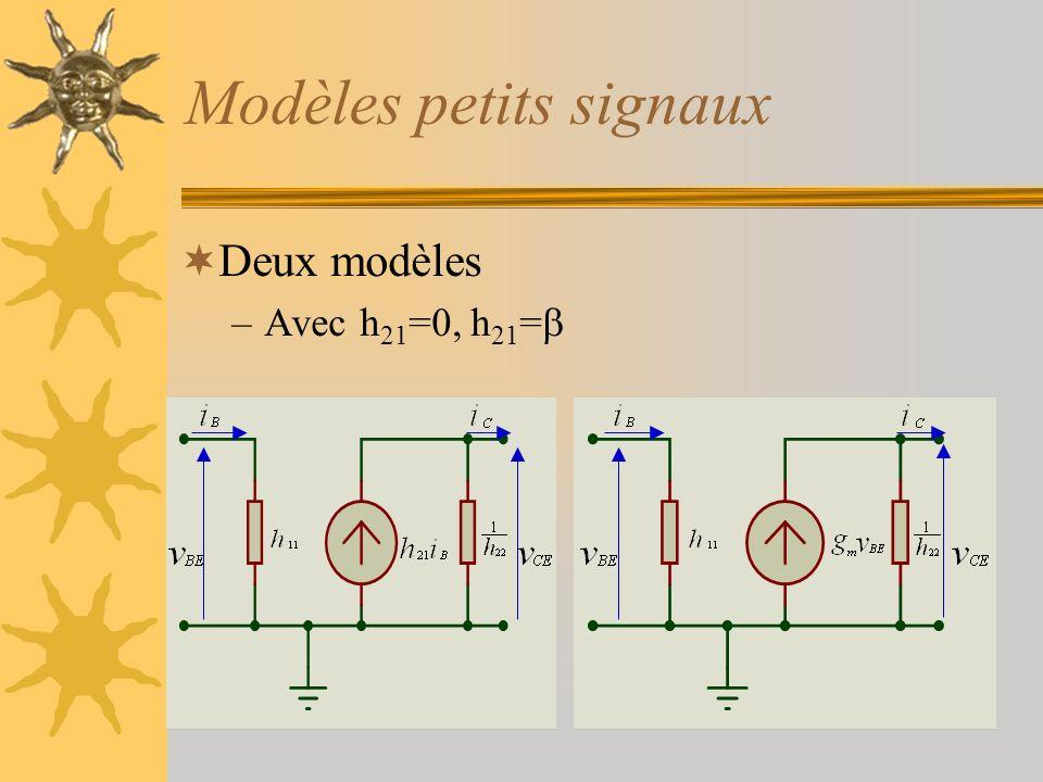 Modèles petits signaux Deux modèles –Avec h 21 =0, h 21 =