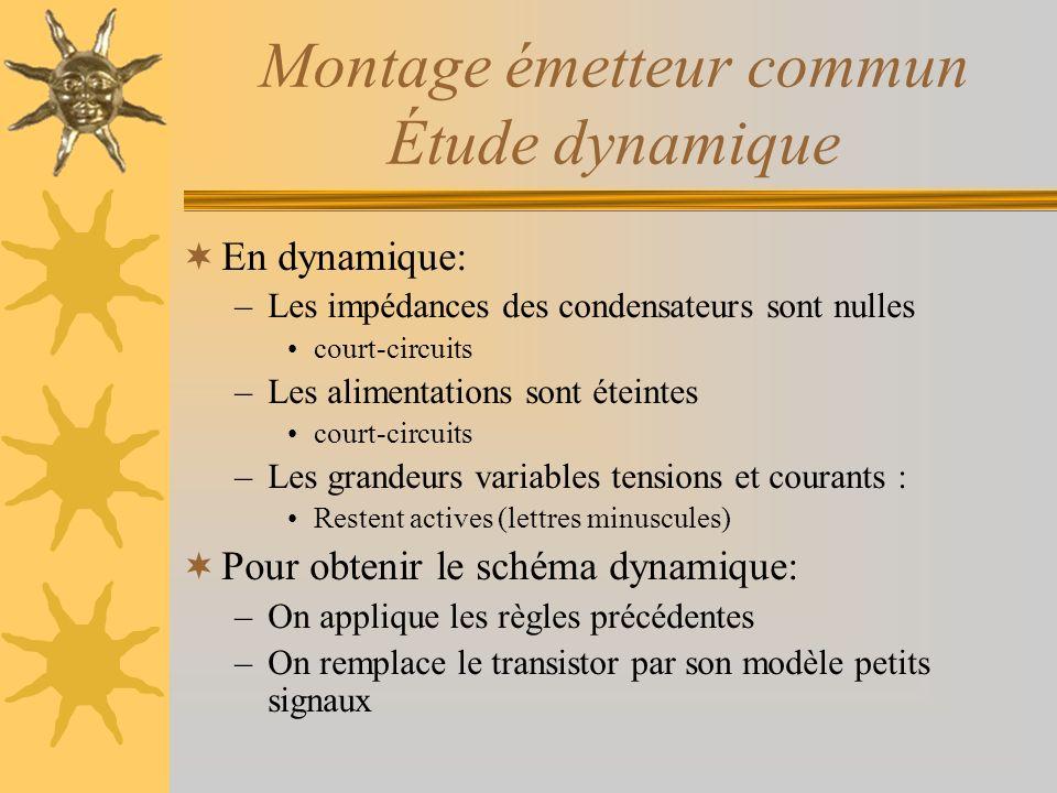 Montage émetteur commun Étude dynamique En dynamique: –Les impédances des condensateurs sont nulles court-circuits –Les alimentations sont éteintes co