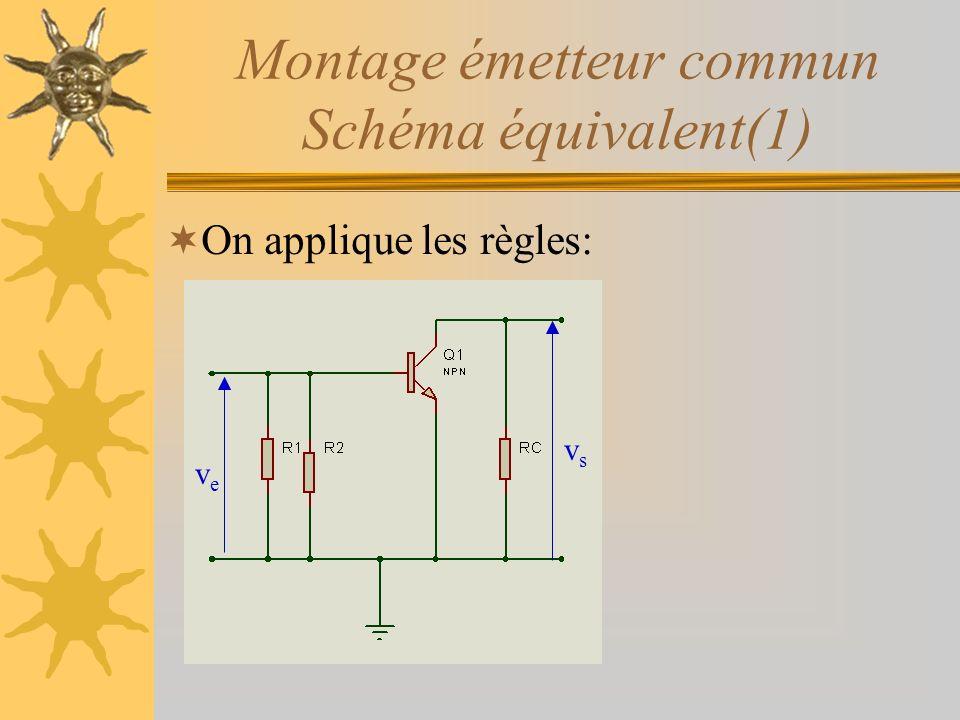 Montage émetteur commun Schéma équivalent(1) On applique les règles: veve vsvs