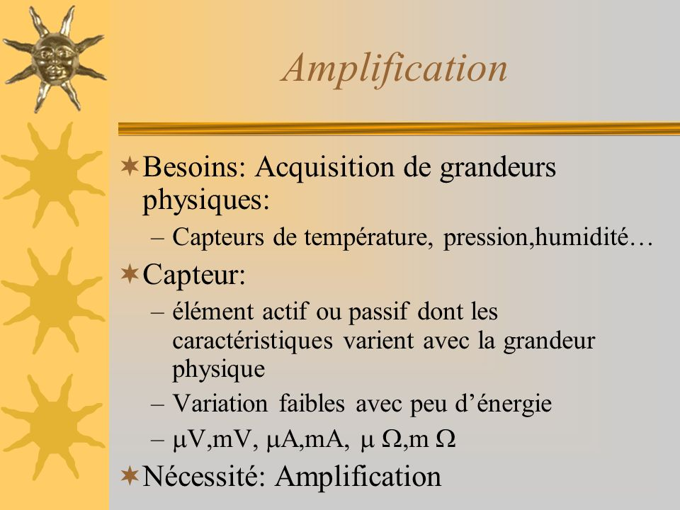 Amplification Besoins: Acquisition de grandeurs physiques: –Capteurs de température, pression,humidité… Capteur: –élément actif ou passif dont les car