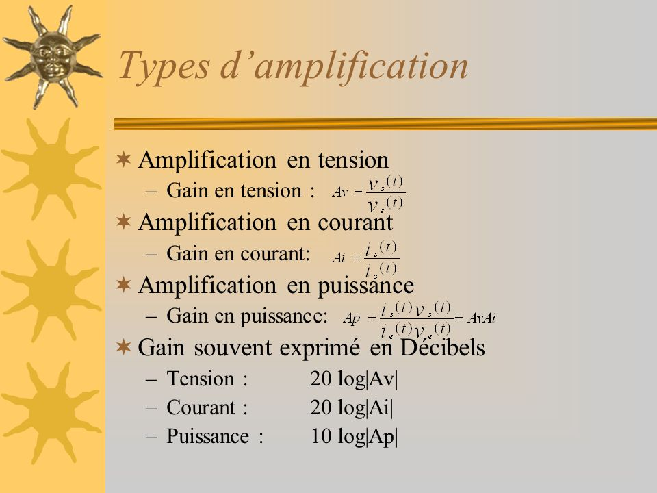 Types damplification Amplification en tension –Gain en tension : Amplification en courant –Gain en courant: Amplification en puissance –Gain en puissa