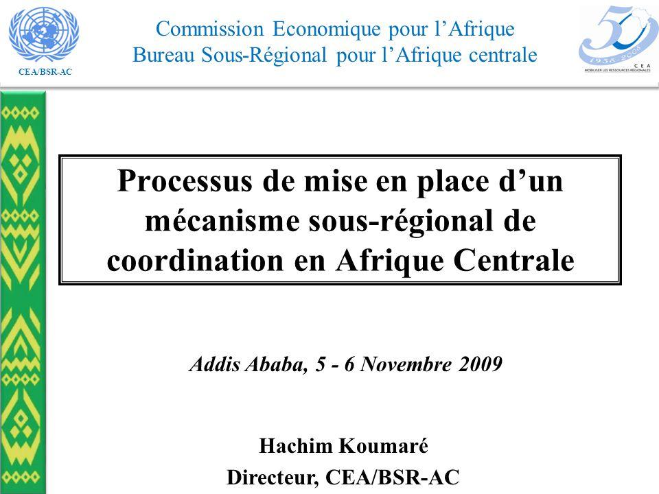 CEA/BSR-AC Commission Economique pour lAfrique Bureau Sous-Régional pour lAfrique centrale Processus de mise en place dun mécanisme sous-régional de coordination en Afrique Centrale Addis Ababa, 5 - 6 Novembre 2009 Hachim Koumaré Directeur, CEA/BSR-AC