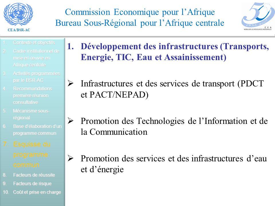 CEA/BSR-AC Commission Economique pour lAfrique Bureau Sous-Régional pour lAfrique centrale 1.Développement des infrastructures (Transports, Energie, TIC, Eau et Assainissement) Infrastructures et des services de transport (PDCT et PACT/NEPAD) Promotion des Technologies de lInformation et de la Communication Promotion des services et des infrastructures deau et dénergie 1.Contexte et objectifs 2.Cadre institutionnel de mise en œuvre en Afrique centrale 3.Activités programmées par le BSR-AC 4.Recommandations première réunion consultative 5.Mécanisme sous- régional 6.Base délaboration dun programme commun 7.Esquisse du programme commun 8.Facteurs de réussite 9.Facteurs de risque 10.Coût et prise en charge