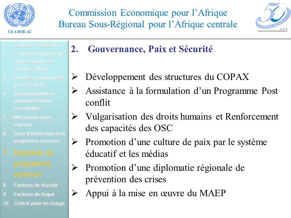 CEA/BSR-AC Commission Economique pour lAfrique Bureau Sous-Régional pour lAfrique centrale 2.