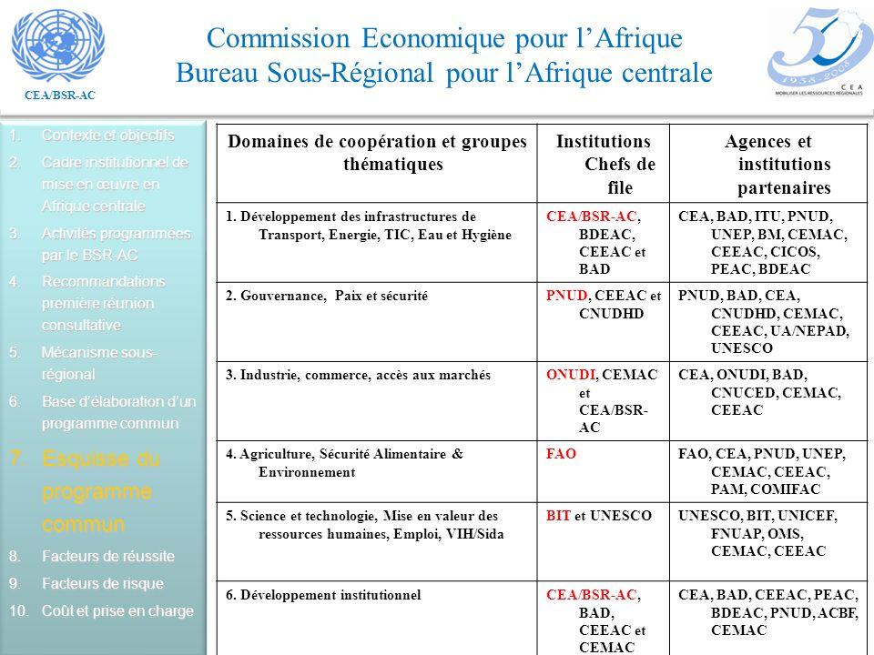 CEA/BSR-AC Commission Economique pour lAfrique Bureau Sous-Régional pour lAfrique centrale 1.Contexte et objectifs 2.Cadre institutionnel de mise en œuvre en Afrique centrale 3.Activités programmées par le BSR-AC 4.Recommandations première réunion consultative 5.Mécanisme sous- régional 6.Base délaboration dun programme commun 7.Esquisse du programme commun 8.Facteurs de réussite 9.Facteurs de risque 10.Coût et prise en charge Domaines de coopération et groupes thématiques Institutions Chefs de file Agences et institutions partenaires 1.