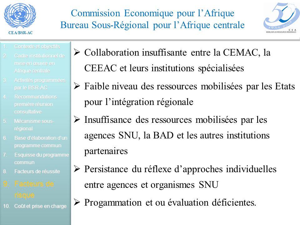 CEA/BSR-AC Commission Economique pour lAfrique Bureau Sous-Régional pour lAfrique centrale Collaboration insuffisante entre la CEMAC, la CEEAC et leurs institutions spécialisées Faible niveau des ressources mobilisées par les Etats pour lintégration régionale Insuffisance des ressources mobilisées par les agences SNU, la BAD et les autres institutions partenaires Persistance du réflexe dapproches individuelles entre agences et organismes SNU Progammation et ou évaluation déficientes.
