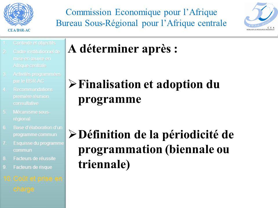 CEA/BSR-AC Commission Economique pour lAfrique Bureau Sous-Régional pour lAfrique centrale A déterminer après : Finalisation et adoption du programme Définition de la périodicité de programmation (biennale ou triennale) 1.Contexte et objectifs 2.Cadre institutionnel de mise en œuvre en Afrique centrale 3.Activités programmées par le BSR-AC 4.Recommandations première réunion consultative 5.Mécanisme sous- régional 6.Base délaboration dun programme commun 7.Esquisse du programme commun 8.Facteurs de réussite 9.Facteurs de risque 10.Coût et prise en charge