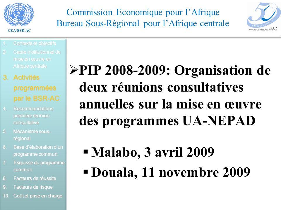 CEA/BSR-AC Commission Economique pour lAfrique Bureau Sous-Régional pour lAfrique centrale PIP 2008-2009: Organisation de deux réunions consultatives annuelles sur la mise en œuvre des programmes UA-NEPAD Malabo, 3 avril 2009 Douala, 11 novembre 2009 1.Contexte et objectifs 2.Cadre institutionnel de mise en œuvre en Afrique centrale 3.Activités programmées par le BSR-AC 4.Recommandations première réunion consultative 5.Mécanisme sous- régional 6.Base délaboration dun programme commun 7.Esquisse du programme commun 8.Facteurs de réussite 9.Facteurs de risque 10.Coût et prise en charge