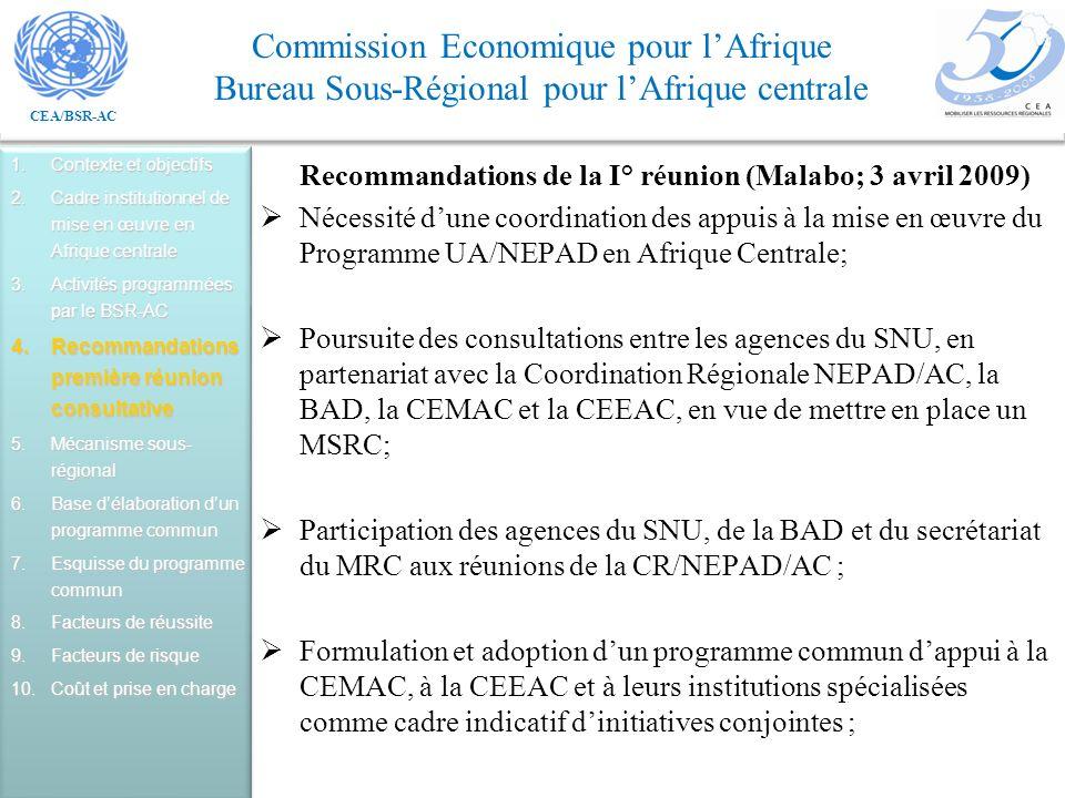 CEA/BSR-AC Commission Economique pour lAfrique Bureau Sous-Régional pour lAfrique centrale Recommandations de la I° réunion (Malabo; 3 avril 2009) Nécessité dune coordination des appuis à la mise en œuvre du Programme UA/NEPAD en Afrique Centrale; Poursuite des consultations entre les agences du SNU, en partenariat avec la Coordination Régionale NEPAD/AC, la BAD, la CEMAC et la CEEAC, en vue de mettre en place un MSRC; Participation des agences du SNU, de la BAD et du secrétariat du MRC aux réunions de la CR/NEPAD/AC ; Formulation et adoption dun programme commun dappui à la CEMAC, à la CEEAC et à leurs institutions spécialisées comme cadre indicatif dinitiatives conjointes ; 1.Contexte et objectifs 2.Cadre institutionnel de mise en œuvre en Afrique centrale 3.Activités programmées par le BSR-AC 4.Recommandations première réunion consultative 5.Mécanisme sous- régional 6.Base délaboration dun programme commun 7.Esquisse du programme commun 8.Facteurs de réussite 9.Facteurs de risque 10.Coût et prise en charge