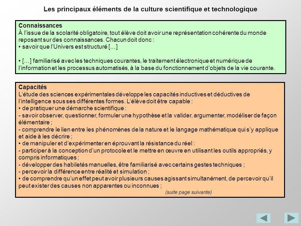 Les principaux éléments de la culture scientifique et technologique Connaissances À lissue de la scolarité obligatoire, tout élève doit avoir une repr