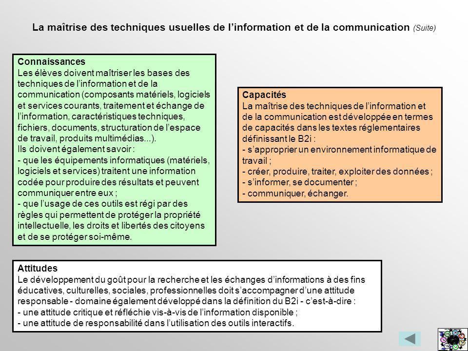 La maîtrise des techniques usuelles de linformation et de la communication (Suite) Connaissances Les élèves doivent maîtriser les bases des techniques