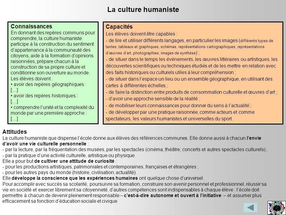 La culture humaniste Connaissances En donnant des repères communs pour comprendre, la culture humaniste participe à la construction du sentiment dappa