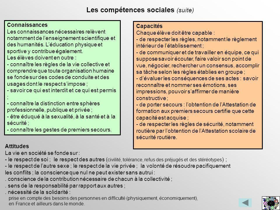 Les compétences sociales (suite) Connaissances Les connaissances nécessaires relèvent notamment de lenseignement scientifique et des humanités. Léduca