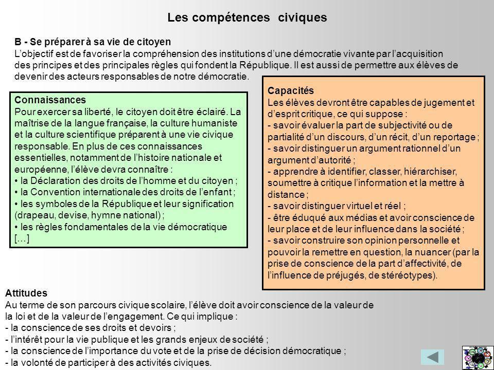 Les compétences civiques B - Se préparer à sa vie de citoyen Lobjectif est de favoriser la compréhension des institutions dune démocratie vivante par