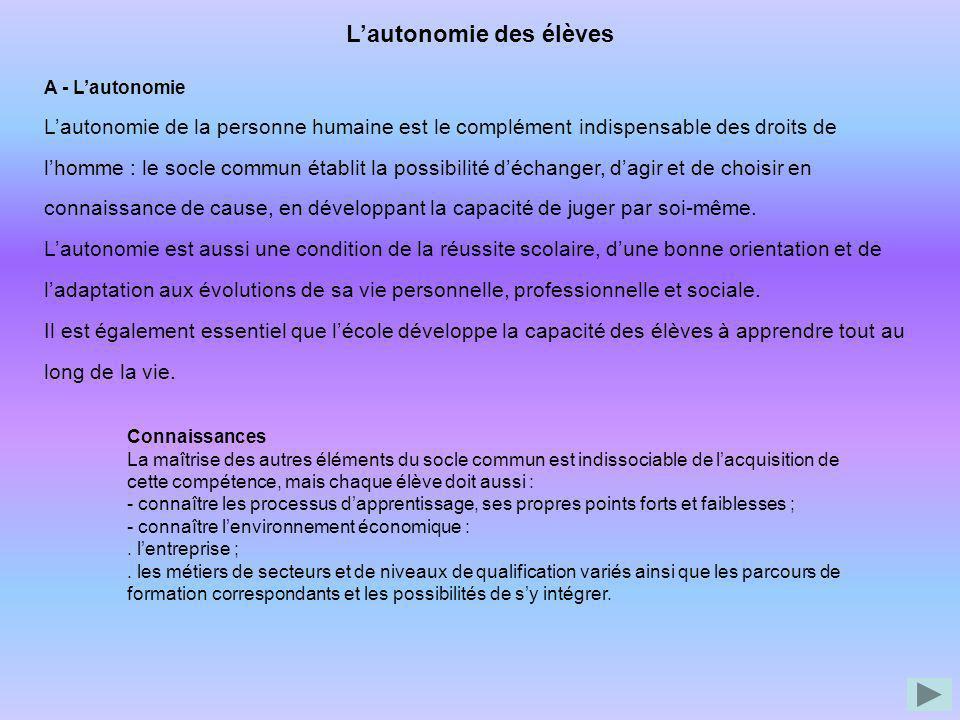 Lautonomie des élèves A - Lautonomie Lautonomie de la personne humaine est le complément indispensable des droits de lhomme : le socle commun établit