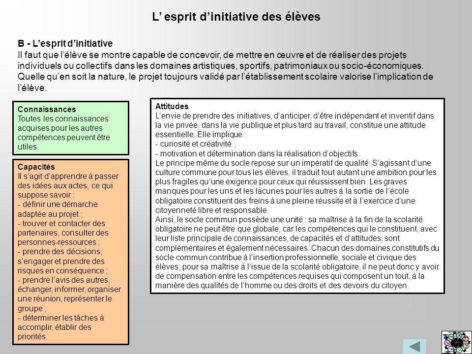 L esprit dinitiative des élèves Connaissances Toutes les connaissances acquises pour les autres compétences peuvent être utiles. B - Lesprit dinitiati
