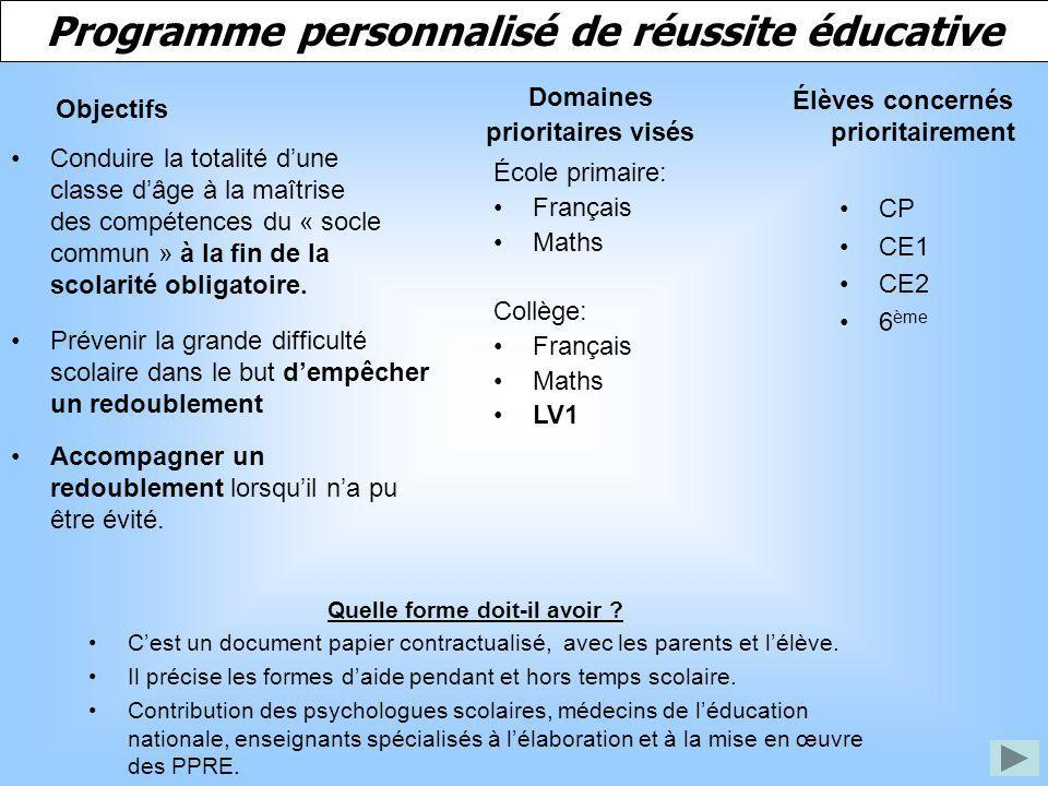 Programme personnalisé de réussite éducative Conduire la totalité dune classe dâge à la maîtrise des compétences du « socle commun » à la fin de la sc