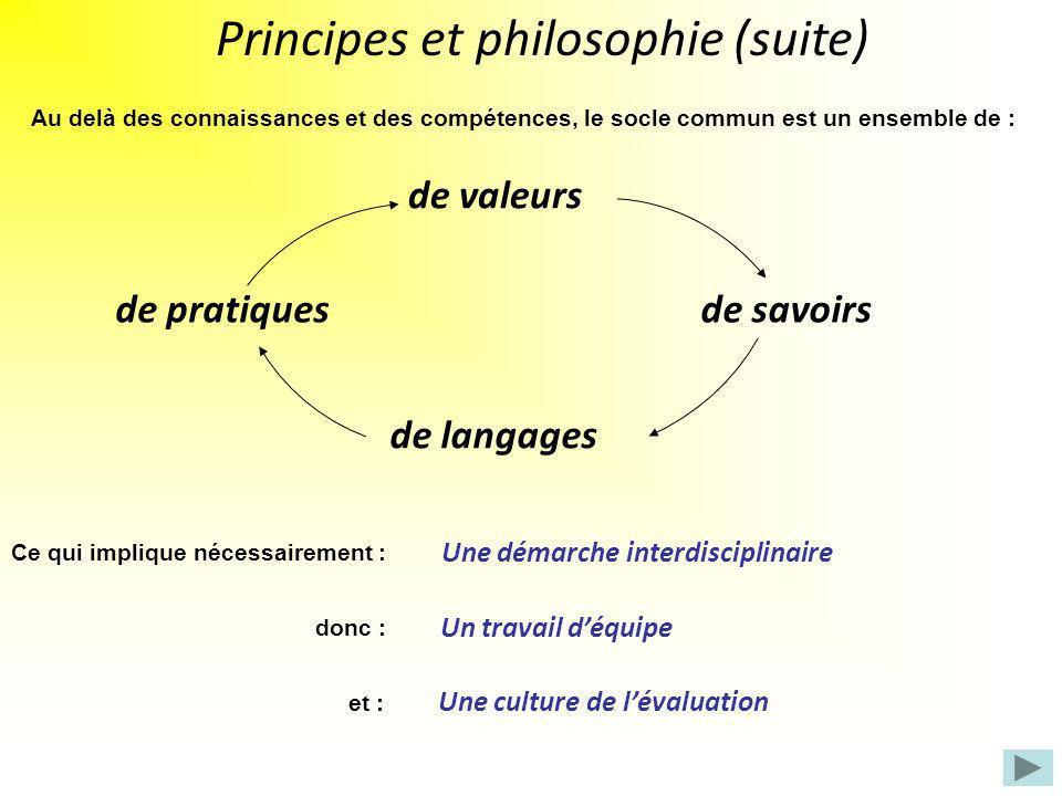 Au delà des connaissances et des compétences, le socle commun est un ensemble de : de valeurs de savoirs de langages de pratiques Principes et philoso