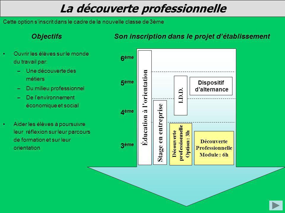 La découverte professionnelle Objectifs Cette option sinscrit dans le cadre de la nouvelle classe de 3ème Ouvrir les élèves sur le monde du travail pa
