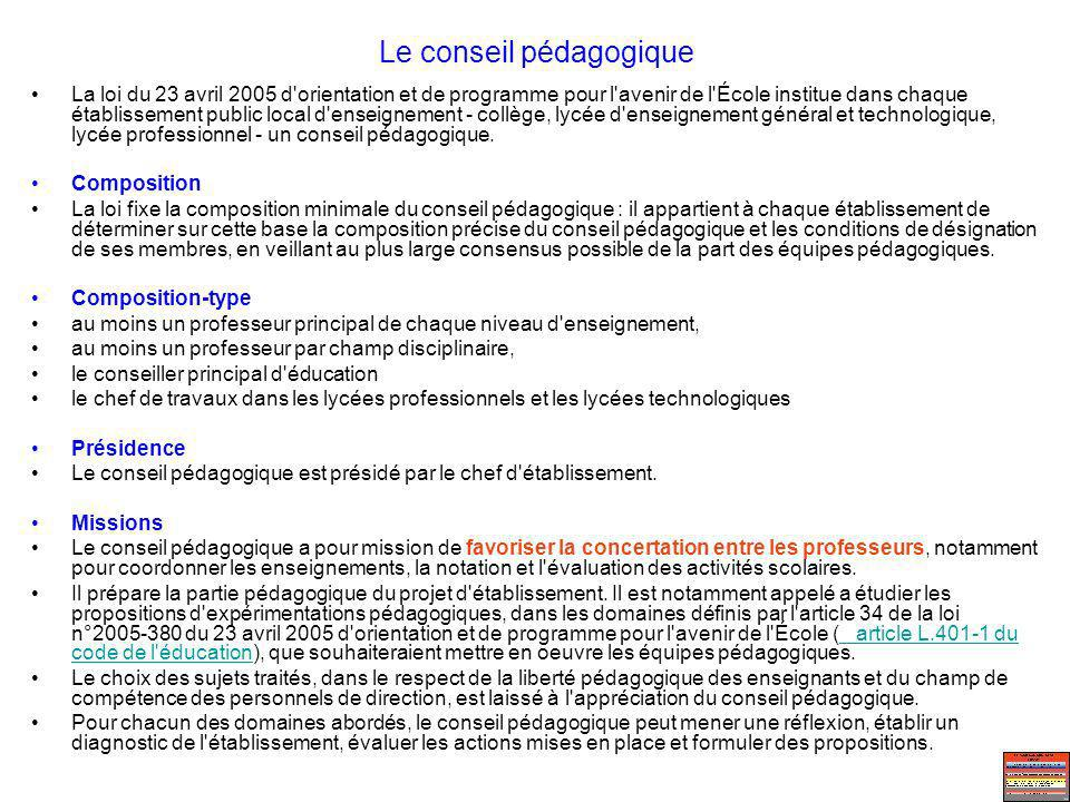 Le conseil pédagogique La loi du 23 avril 2005 d'orientation et de programme pour l'avenir de l'École institue dans chaque établissement public local