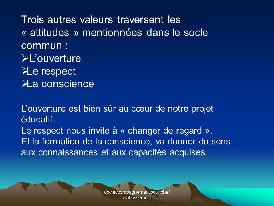 doc accompagnement pour chef établissement Trois autres valeurs traversent les « attitudes » mentionnées dans le socle commun : Louverture Le respect La conscience Louverture est bien sûr au cœur de notre projet éducatif.