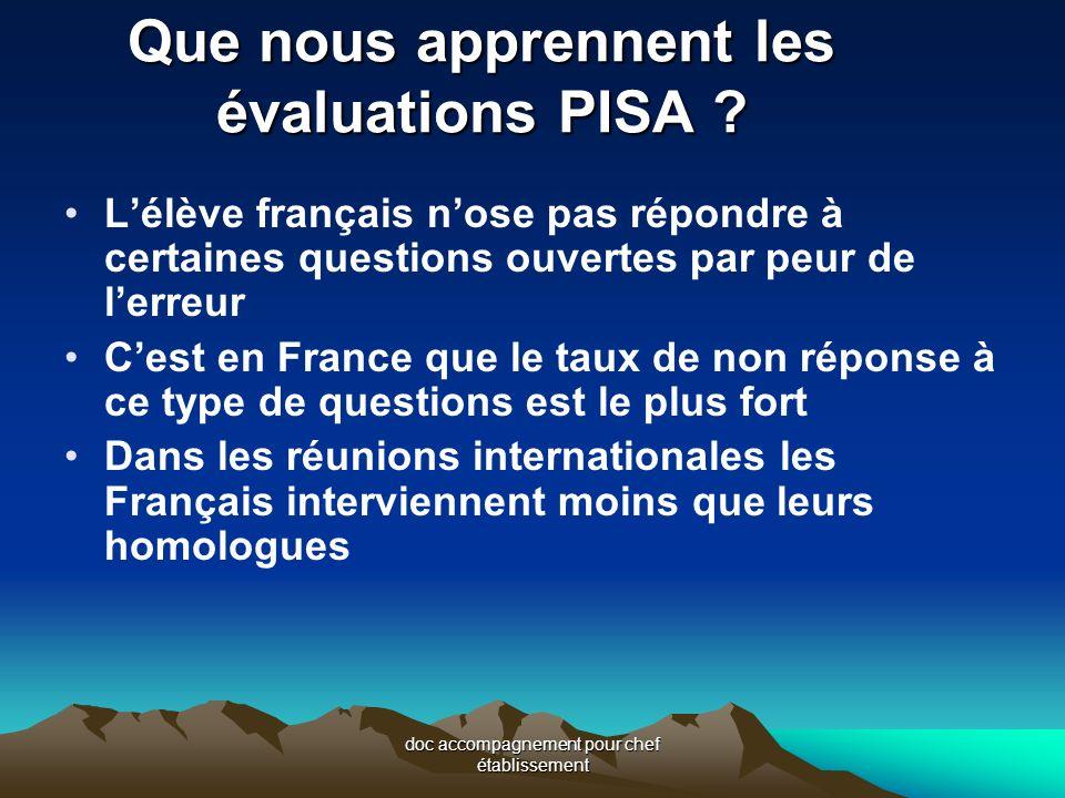doc accompagnement pour chef établissement Que nous apprennent les évaluations PISA .