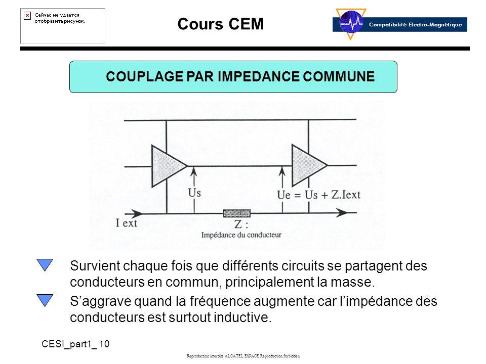 Cours CEM CESI_part1_ 10 Reproduction interdite ALCATEL ESPACE Reproduction forbidden COUPLAGE PAR IMPEDANCE COMMUNE Survient chaque fois que différents circuits se partagent des conducteurs en commun, principalement la masse.