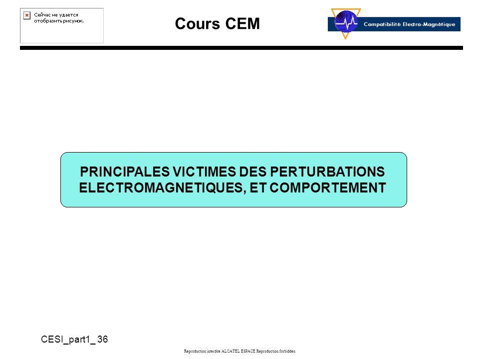 Cours CEM CESI_part1_ 36 Reproduction interdite ALCATEL ESPACE Reproduction forbidden PRINCIPALES VICTIMES DES PERTURBATIONS ELECTROMAGNETIQUES, ET COMPORTEMENT