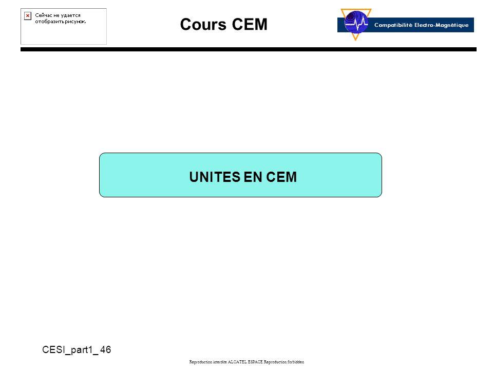 Cours CEM CESI_part1_ 46 Reproduction interdite ALCATEL ESPACE Reproduction forbidden UNITES EN CEM