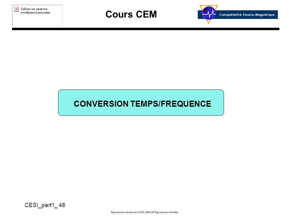 Cours CEM CESI_part1_ 48 Reproduction interdite ALCATEL ESPACE Reproduction forbidden CONVERSION TEMPS/FREQUENCE