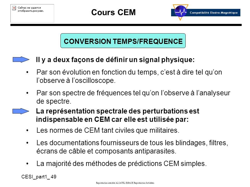 Cours CEM CESI_part1_ 49 Reproduction interdite ALCATEL ESPACE Reproduction forbidden CONVERSION TEMPS/FREQUENCE La représentation spectrale des perturbations est indispensable en CEM car elle est utilisée par: Par son évolution en fonction du temps, cest à dire tel quon lobserve à loscilloscope.