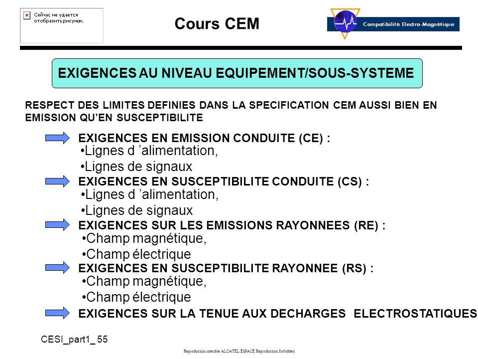 Cours CEM CESI_part1_ 55 Reproduction interdite ALCATEL ESPACE Reproduction forbidden EXIGENCES AU NIVEAU EQUIPEMENT/SOUS-SYSTEME RESPECT DES LIMITES DEFINIES DANS LA SPECIFICATION CEM AUSSI BIEN EN EMISSION QUEN SUSCEPTIBILITE EXIGENCES EN EMISSION CONDUITE (CE) : EXIGENCES EN SUSCEPTIBILITE CONDUITE (CS) : EXIGENCES SUR LES EMISSIONS RAYONNEES (RE) : Lignes d alimentation, Lignes de signaux Champ magnétique, Champ électrique Lignes d alimentation, Lignes de signaux EXIGENCES EN SUSCEPTIBILITE RAYONNEE (RS) : Champ magnétique, Champ électrique EXIGENCES SUR LA TENUE AUX DECHARGES ELECTROSTATIQUES