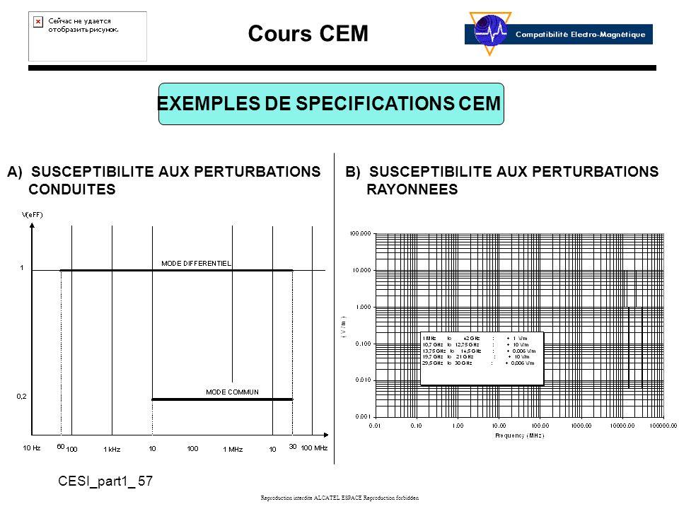 Cours CEM CESI_part1_ 57 Reproduction interdite ALCATEL ESPACE Reproduction forbidden EXEMPLES DE SPECIFICATIONS CEM A) SUSCEPTIBILITE AUX PERTURBATIONS CONDUITES B) SUSCEPTIBILITE AUX PERTURBATIONS RAYONNEES