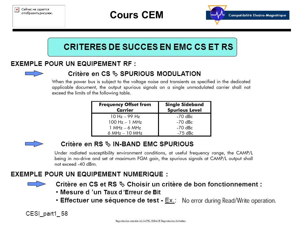 Cours CEM CESI_part1_ 58 Reproduction interdite ALCATEL ESPACE Reproduction forbidden CRITERES DE SUCCES EN EMC CS ET RS EXEMPLE POUR UN EQUIPEMENT RF : Critère en CS SPURIOUS MODULATION Critère en CS et RS Choisir un critère de bon fonctionnement : Mesure d un Taux d Erreur de Bit Effectuer une séquence de test - Ex.: Critère en RS IN-BAND EMC SPURIOUS EXEMPLE POUR UN EQUIPEMENT NUMERIQUE :