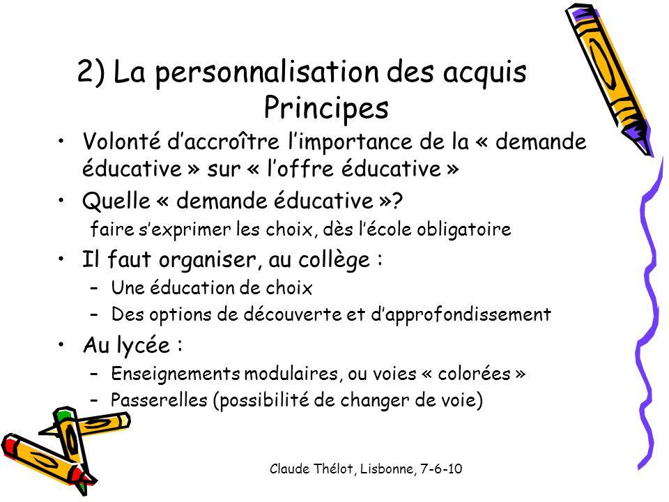 Claude Thélot, Lisbonne, 7-6-10 Volonté daccroître limportance de la « demande éducative » sur « loffre éducative » Quelle « demande éducative »? fair