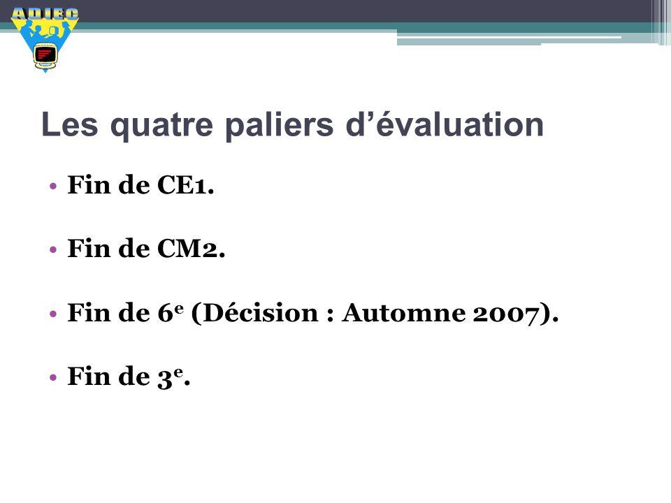 Les quatre paliers dévaluation Fin de CE1. Fin de CM2. Fin de 6 e (Décision : Automne 2007). Fin de 3 e.