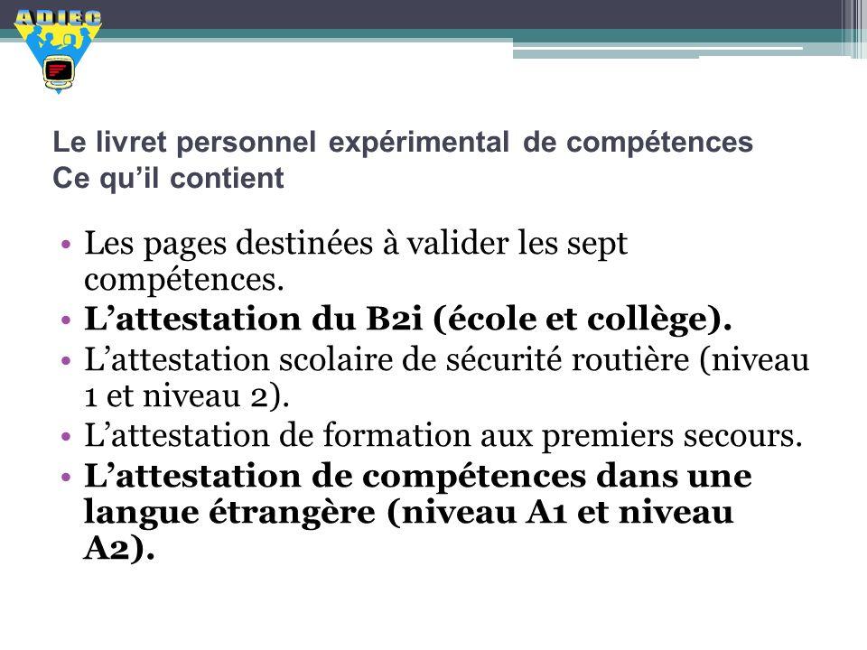 Le livret personnel expérimental de compétences Ce quil contient Les pages destinées à valider les sept compétences. Lattestation du B2i (école et col