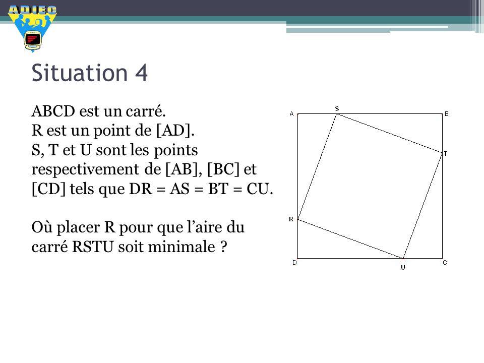Situation 4 ABCD est un carré. R est un point de [AD]. S, T et U sont les points respectivement de [AB], [BC] et [CD] tels que DR = AS = BT = CU. Où p
