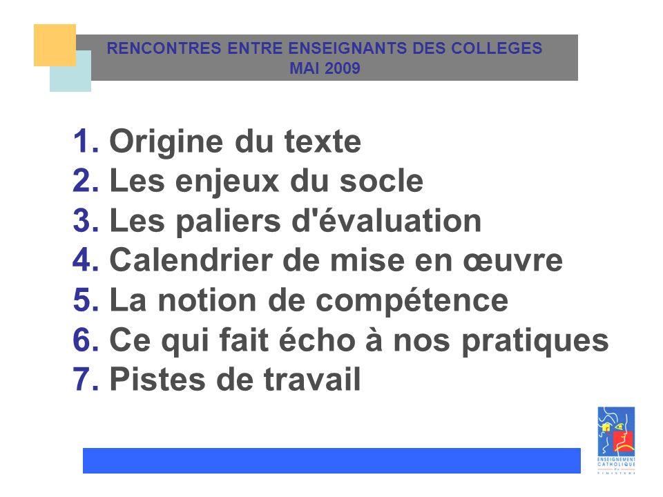 RENCONTRES ENTRE ENSEIGNANTS DES COLLEGES MAI 2009 TITRE 1. Origine du texte 2. Les enjeux du socle 3. Les paliers d'évaluation 4. Calendrier de mise