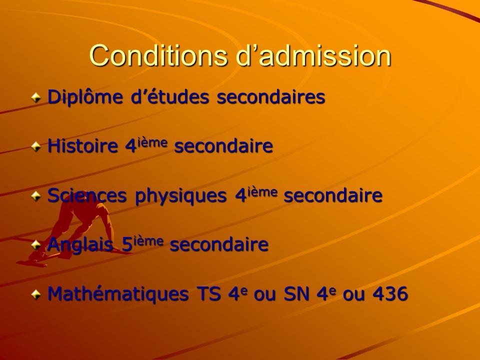 Conditions dadmission Diplôme détudes secondaires Histoire 4 ième secondaire Sciences physiques 4 ième secondaire Anglais 5 ième secondaire Mathématiques TS 4 e ou SN 4 e ou 436