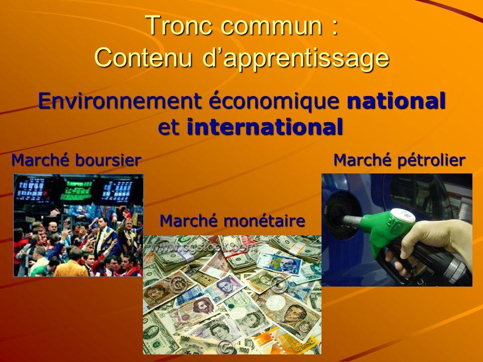Tronc commun : Contenu dapprentissage Environnement économique national et international Marché boursier Marché pétrolier Marché monétaire
