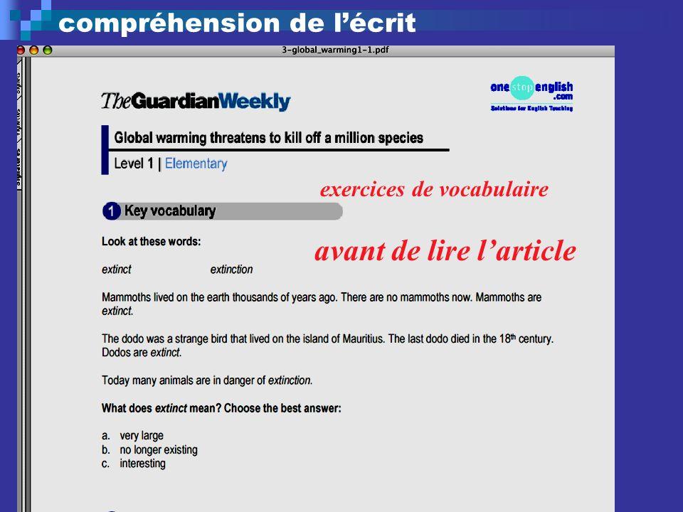 compréhension de lécrit exercices de vocabulaire avant de lire larticle