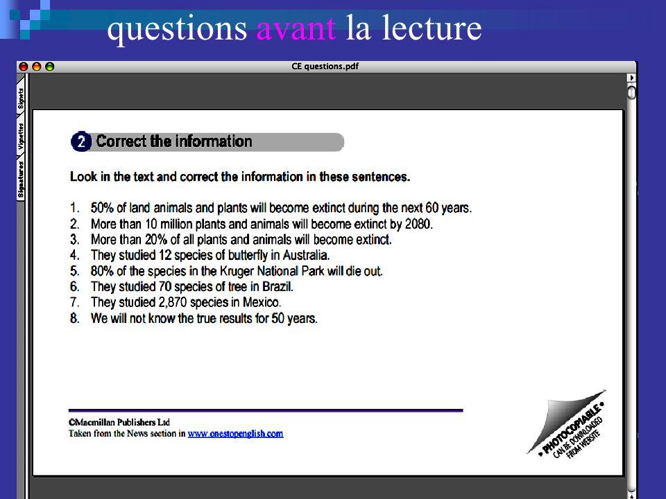 questions de compréhension questions avant la lecture