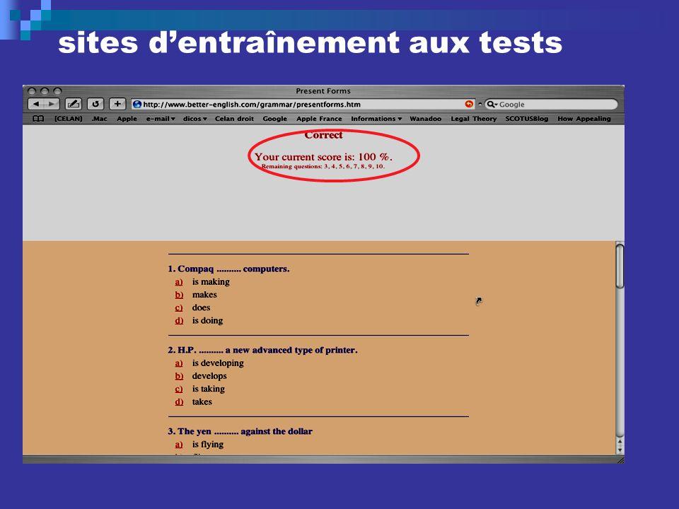 sites dentraînement aux tests