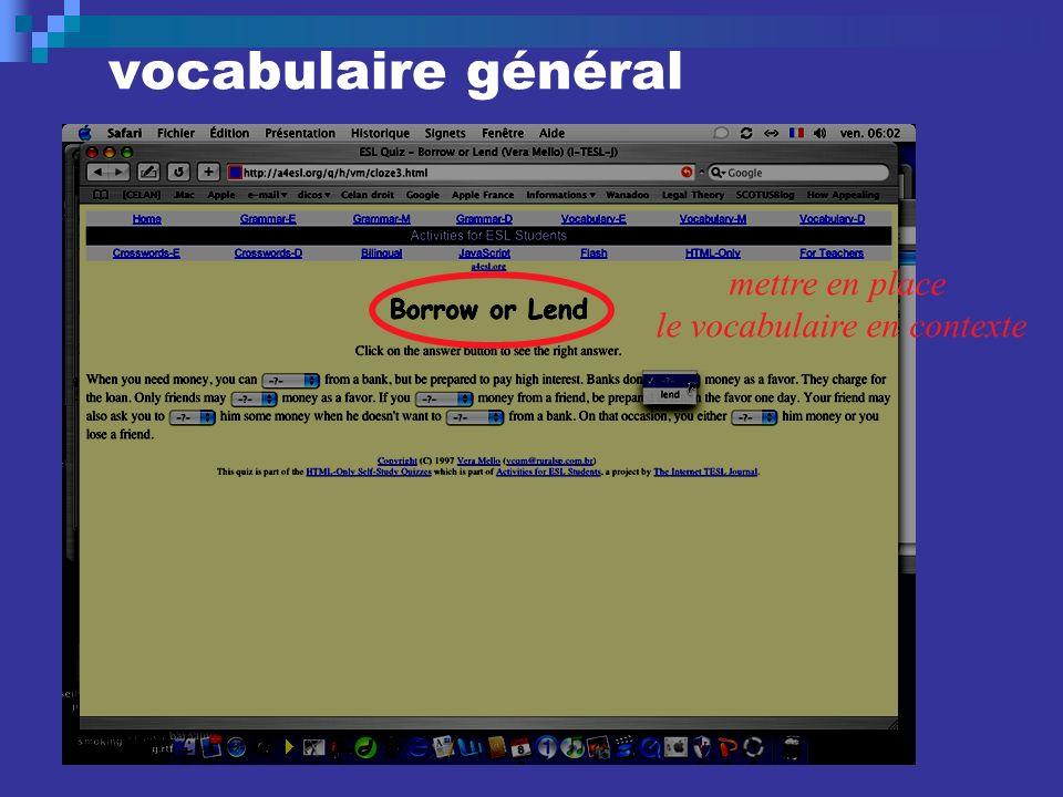 vocabulaire général mettre en place le vocabulaire en contexte