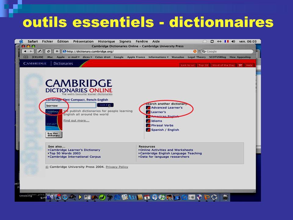 outils essentiels - dictionnaires