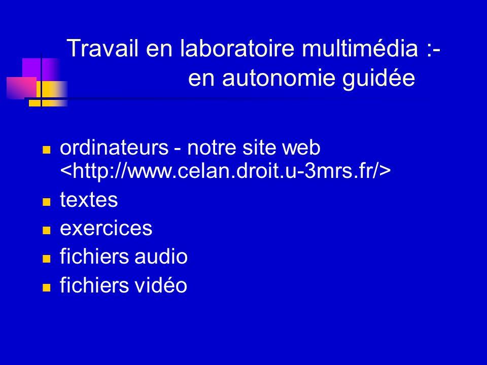 Travail en laboratoire multimédia :- en autonomie guidée ordinateurs - notre site web textes exercices fichiers audio fichiers vidéo